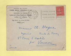 L'Animal Souffre Comme Vous Pitié Pour Lui SPA - Paris XVII Avenue Wagram - 1937 - Semeuse Lignee - Postmark Collection (Covers)