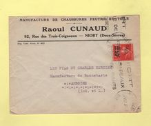 N°225 Seul Sur Lettre - Niort Gare - 1922 - Type Semeuse - Postmark Collection (Covers)