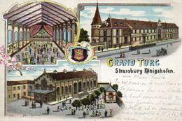 CPA - STRASBOURG (67) - GRAND TURC - Gruss Aus - Lithographie Multi-vues De 1899 - Strasbourg