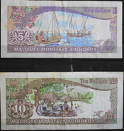 2 Billets De Banque - Maldives 5 Et 10 Rufiyaa, Année : 1983  - En Bon Etat - Maldives