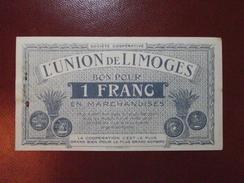 Bon Pour 1 Franc En Marchandises 1920 (CACHET A FROID) BILLET DE NECESSITE UNION DE LIMOGES - Bons & Nécessité