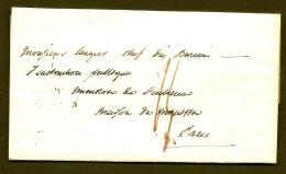 LETTRE PRECURSEUR 1819 - TAXE A LA PLUME ROUGE DE 14 DÉCIMES + TAMPON ARRIVÉE TYPE 1806 1 CERCLE- - Poststempel (Briefe)