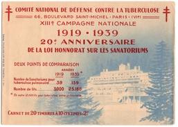 COMITE NATIONAL De DEFENSE CONTRE LA TUBERCULOSE. CARNET COMPLET De 20 VIGNETTES .20 ème ANNIVERSAIRE. - Erinnophilie
