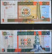 2 Billets De Banque - CUBA 1 Peso ( 1994 ) 5 Pesos ( 2008 )  - En Bon Etat - Cuba