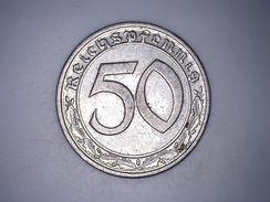 RARE - 50 Reichs PFENNIG 1938 G Deutsches Reich Nickel - 50 Reichspfennig