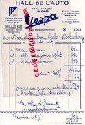 87 - LIMOGES- FACTURE HALL DE L' AUTO- VESPA- MARC PINGET-6 RUE GENERAL LECLERC- 1957 GARAGE - Cars