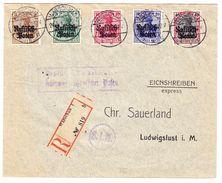 1916 R- Brief Warschau Nach Ludwigslust, Frankiert Mit 5 Werten Deutsches Reich überdruckt Russisch Polen - ....-1919 Übergangsregierung