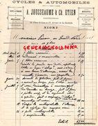 79- NIORT- FACTURE A. JOUSSEAUME & CH. ETIEN- CYCLES AUTOMOBILES- VELO-14 PLACE SAINT JEAN-1904 - Cars
