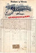 79- NIORT- FACTURE G. BIGOSINSKI- PEINTRE VITRIER- PEINTURE VITRERIE- 58 RUE DU 24 FEVRIER- 1902 - Cars