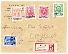 1913 R- Brief Russische Post In Constantinople 5 Farben Frankatur Nach St. Gallen - 1857-1916 Empire