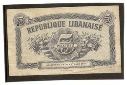 Billet Banque Du Liban Billet De Nécésité 5 Livre Type 1944 - Lebanon