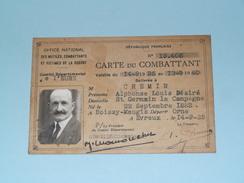 CARTE Du COMBATTANT N° 19.406 Français : CHEMIN Alphonse (1882 Boissy Maugis) Anno 1935/40 ( Zie Foto Details ) ! - Documents