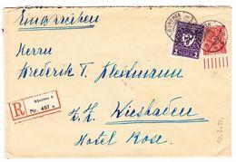 1922 R-Brief Aus München Nach Wiesbaden, Mit Bedrucktem Bogenrandstück - Allemagne