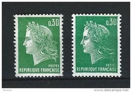 """FR YT 1611 Et 1611b """" Marianne De Cheffer """" 1969 Neuf** Avec Et Ss Phosphore - France"""