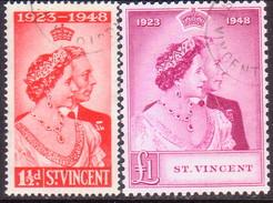 ST.VINCENT 1948 SG #162-63 Compl.set Used Royal Silver Wedding CV £40.10 - St.Vincent (...-1979)
