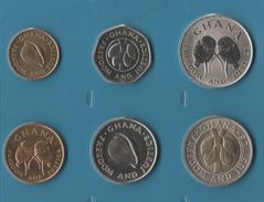 GHANA COIN SET 6 MONNAIES: 1 CEDI - 100 CEDIS 1984 - 1999 - Ghana