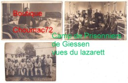 (Guerre 1914-18) 094, 3 Cartes Photos Camp De Prisonniers De Giessen Dans La Hesse, Nurse Infirmière, Rare Vues Du Lazar - Guerre 1914-18