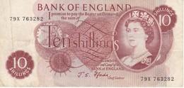 BILLETE DE REINO UNIDO DE 10 SHILLINGS AÑOS 1966-1970  (BANKNOTE) - 1952-… : Elizabeth II