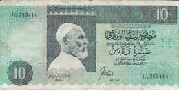 BILLETE DE LIBIA DE 10 DINARS DEL AÑO 1989 (BANKNOTE) - Libye