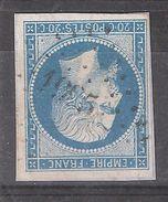 Empire N° 14 B Obl Pc 1995 De MEZIN, Lot Et Garonne, Indice 5  , TB - 1853-1860 Napoléon III
