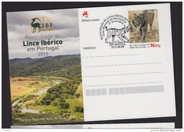 PORTUGAL 2015 POSTAL STATIONERY IBERIAN LINX LINCE IBERICO - Félins