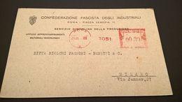 EMA MILANO CONFEDERAZIONE FASCISTA INDUSTRIALI 1942 - Affrancature Meccaniche Rosse (EMA)