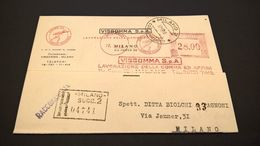 EMA MILANO VISGOMMA 1948 - Affrancature Meccaniche Rosse (EMA)
