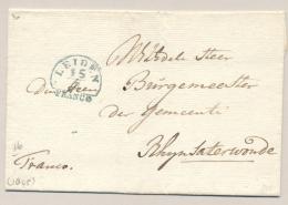Nederland - 1845(?) - Omslagje Van LEIDEN FRANCO Via ALPHEN Naar Burgemeestervan Rhijnsaterwoude - ...-1852 Voorlopers