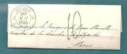 -== MARQUIS De  GRAS De PRÉVILLE - Lettre De HYÈRES (Var) Pour PARIS - 1844 ==- - Marcophilie (Lettres)