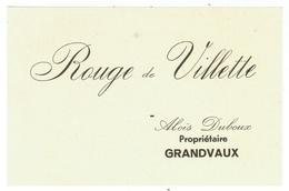 Rare // Etiquette //  Rouge De Villette, Aloïs Duboux, Grandvaux Vaud // Suisse - Etiquettes