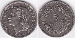 5 FRANCS LAVRILLIER Nickel 1938 SUPERBE(voir Scan) - France