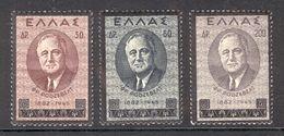 Greece 1945 Franklin D. Roosevelt, Scott Cat. No(s). 469-471, MH Complete Set - Unused Stamps