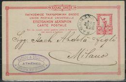 GRIECHENLAND 1901 -  MiNr: P 17b Gelaufen Athen-Milano - Ganzsachen