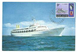 GIBRALTAR - CARTE MAXIMUM - BATEAU LE S.S. CANBERRA  1968 -  TBE VOIR LES 2 SCANS - Gibraltar