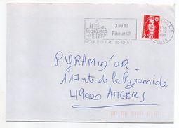 1992--flamme Temporaire  MOULINS--Foire Expo --tp Adhésif Marianne Du Bicentenaire 2.50F-personnalisée - Postmark Collection (Covers)
