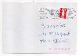 1991--flamme Temporaire HOUILLES-78--20° Corrida Pedestre Internationale--tp Adhésif Marianne Du Bicentenaire 2.50F- - Postmark Collection (Covers)