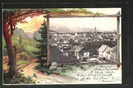 Passepartout-AK Traunstein, Blick über Die Dächer - Traunstein