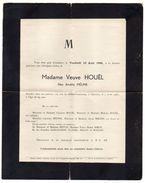 1945-Faire Part De Décès--CHARTRES--Mme Veuve HOUEL Née MELINE (généalogie) BIETTE,SIMON,GAILLOCHON,HANSEL,MALOU,MAILLET - Décès