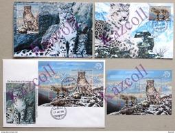 Kazakhstan. 2017. FDC + 2 Maxicard + Bloc.  Snow Leopards. Panthera Uncia. - Kasachstan