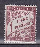 N° 40A Taxes: 1 Franc Percevoir  Lilas Brun Sur Blanc  Timbre Neuf Impeccable  Très Légère Trace De Charnière - Taxes
