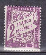 N° 42 Taxes: 2 Franc Percevoir  Violet  Timbre Neuf Impeccable  Très Légère Trace De Charnière - Taxes