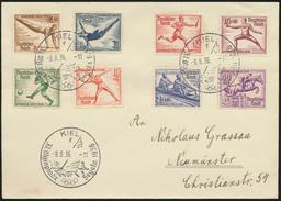 Deutsches Reich Brief 609-616 SST Kiel Olympia Nach Neumünster 9.8.1936 3x Schön - Deutschland