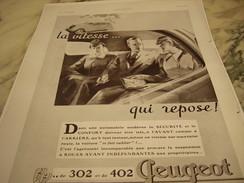 ANCIENNE PUBLICITE 302- 402 LA VITESSE REPOSE  PEUGEOT 1937 - Voitures