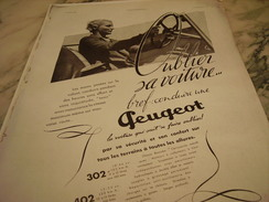 ANCIENNE PUBLICITE 302- 402 OUBLIER SA VOITURE  PEUGEOT 1937 - Voitures