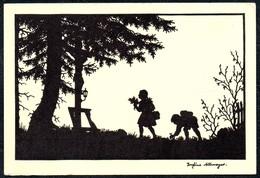 A7516 - Alte Künstlerkarte - Scherenschnitt Silhouette - Josefine Allmayer - Silhouettes