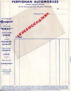 66- PERPIGNAN- GARAGE AUTOMOBILE -LESUEUR DESSON & PILLARD-23 24 BD.JEAN BOURRAT-MICHELIN DUNLOP-UNIC-PEUGEOT-DININ - Cars