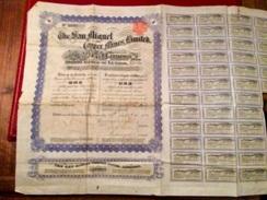 THE   SAN  MIGUEL  COPPER  MINES  ,  LIMITED  ---------Certificat  D' Une  Action  D' Une £ - Bergbau