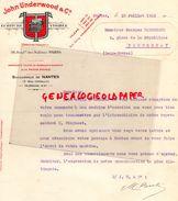 44- NANTES- FACTURE JOHN UNDERWOOD-ECRITURE VISIBLE-MACHINE A ECRIRE-36 BD-ITALIENS PARIS- 17 RUE CREBILLON-1923 - Imprimerie & Papeterie