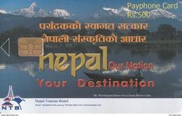 NEPAL - Nelap Lake, Nepal Telecom Phonecard,  R$ 500, Sample No CN - Nepal