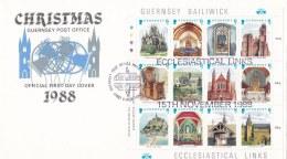 Guernsey FDC 1988 Christmas Souvenir Sheet (LAR6-11) - Guernsey